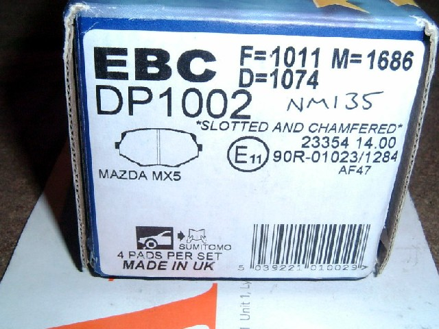 Brake pads, Mazda MX-5 1.8 mk1, front, EBC Ultimax, for 255mm discs